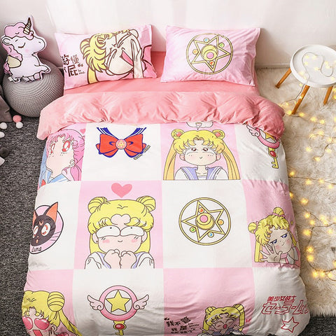 Fashion Sailormoon Usagi and Luna Bed sheet,Quiltcover,Pillowcover PN1778
