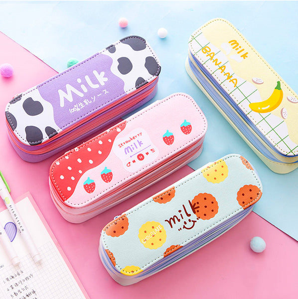 Kawaii Strawberry Milk Pencil Bag PN2648