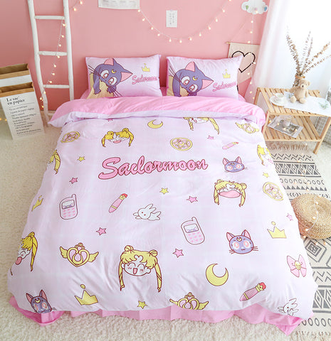 Fashion Sailormoon Usagi and Luna Bedding Set PN1753
