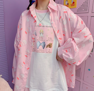 Strawberry Milk Long Sleeve Shirt PN2607