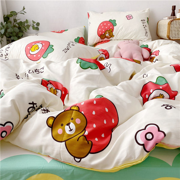 Fashion Strawberry Bed sheet,Quiltcover,Pillowcover PN2291