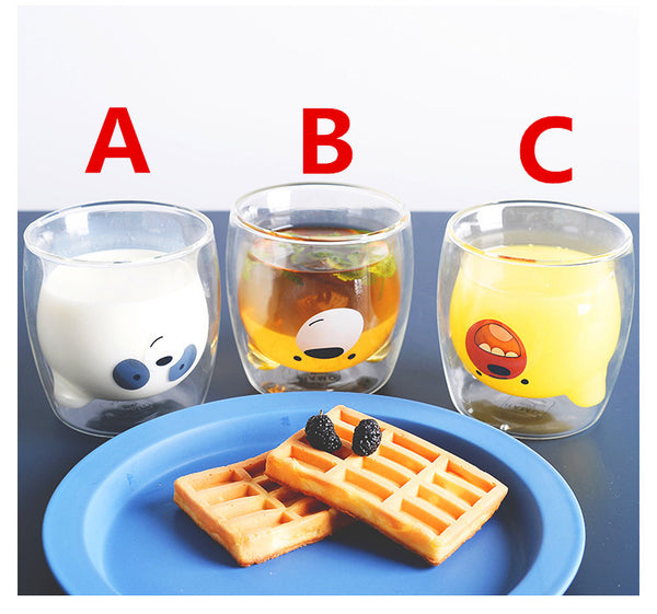Kawaii Bear Double Glass Water Cups PN1045