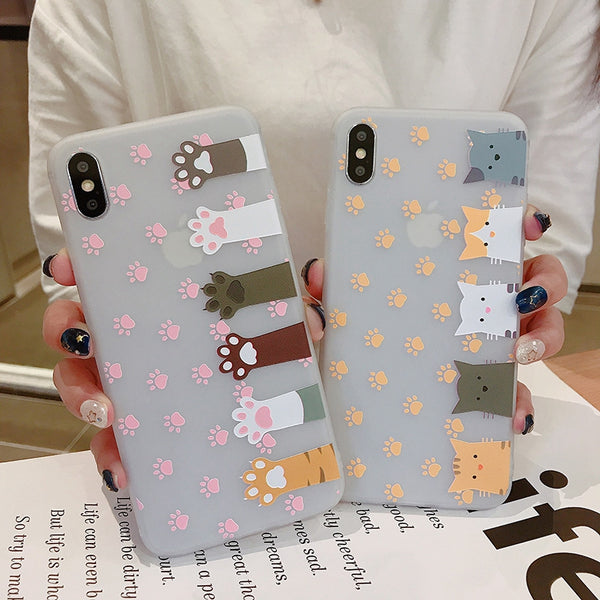 Lovely Cats Paw Phone Case for iphone 6/6s/6plus/7/7plus/8/8P/X/XS/XR/XS Max PN1813