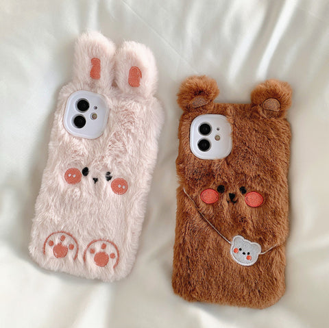 Soft Bear and Rabbit Phone Case for iphone 7/7plus/8/8P/X/XS/XR/XS Max/11/11pro/11pro max12/12mini/12pro/12pro max PN3407