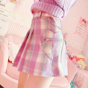 Pink Hearts Pleated Skirt PN3184