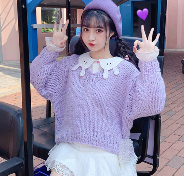 Fashion Purple Sweater and Rabbit Shirt PN2125