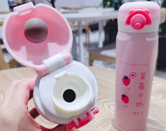 Cute Strawberry and Bear Vacuum Water Bottle PN1856