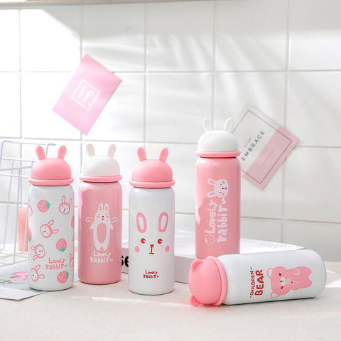 Cute Rabbite Ears Vacuum Water Bottle PN2493