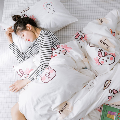 Cute Rabbits Bed sheet,Quiltcover,Pillowcover PN2471