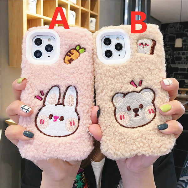 Lovely Bear and Rabbit Phone Case for iphone 7/7plus/8/8P/X/XS/XR/XS Max/11/11pro/11pro max12/12mini/12pro/12pro max PN2044