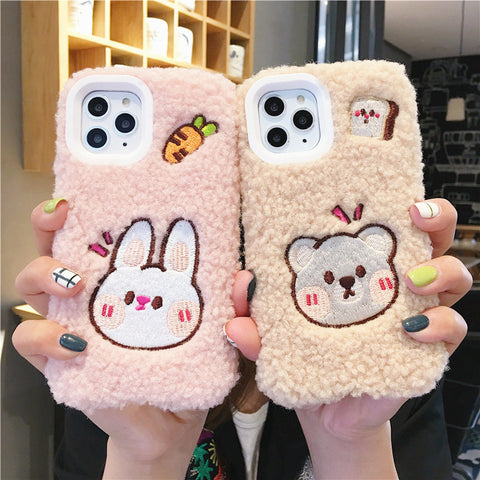 Lovely Bear and Rabbit Phone Case for iphone 7/7plus/8/8P/X/XS/XR/XS Max/11/11pro/11pro max PN2044