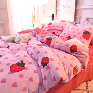 Fashion Strawberry Hearts Bed sheet,Quiltcover,Pillowcover PN1790