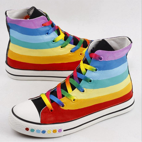 Fashion Rainbow Stripes Canvas Shoes PN1299