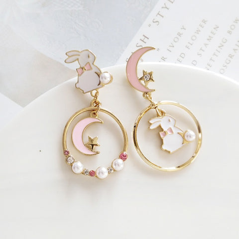 Lovely Rabbit and Moon Earrings/Clips PN1192