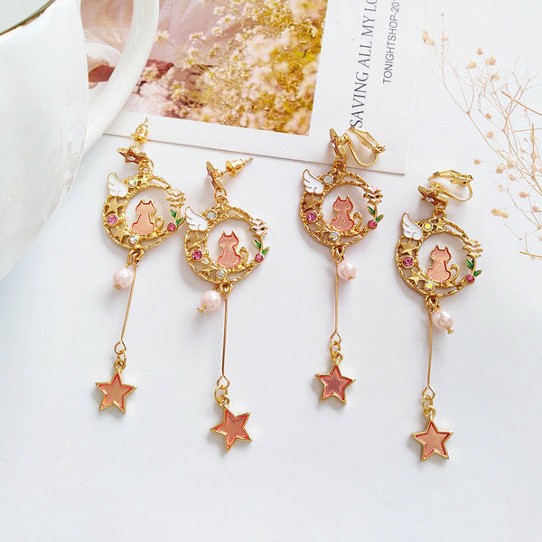 Cute Cat Moon Earrings/Clips PN1229