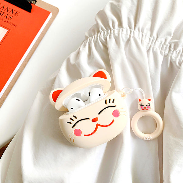 Cute Fortune Cat Airpods Case For Iphone PN1812