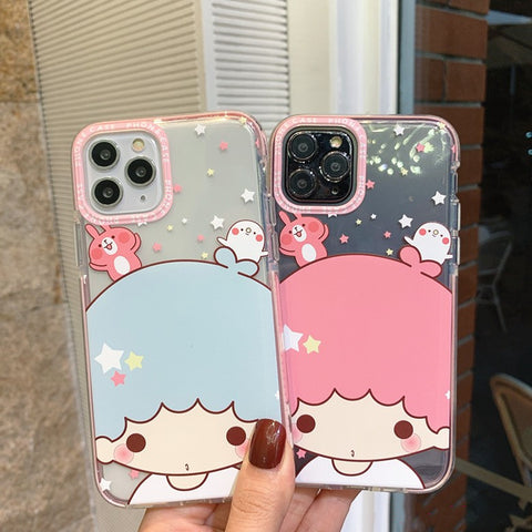 Little Twin Stars Phone Case for iphone 7/7plus/8/8P/X/XS/XR/XS Max/11/11pro/11pro max PN2323