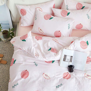 Kawaii Peach Bed sheet,Quiltcover,Pillowcover PN2472