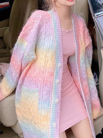 Fashion Rainbow Sweater Knitted Coat PN3427