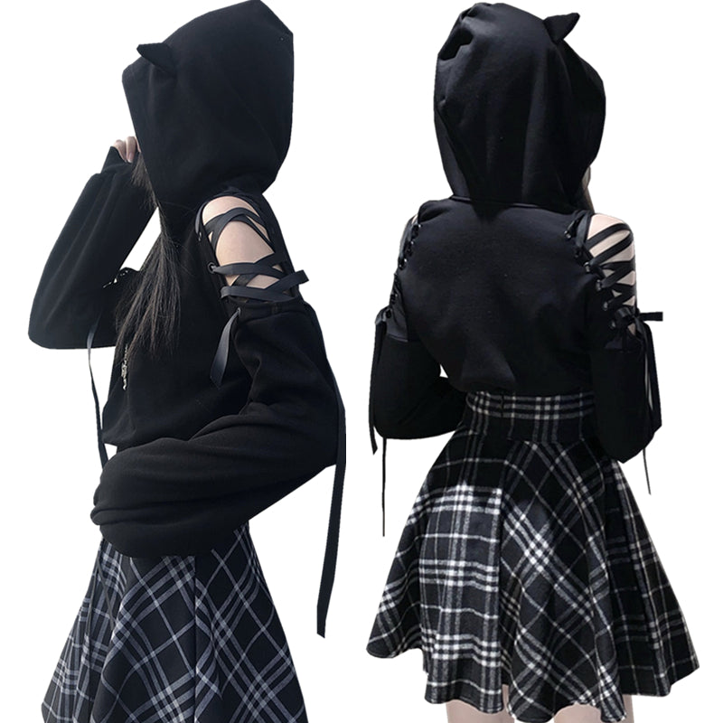 Fashion Black Hoodie and Skirt PN2715