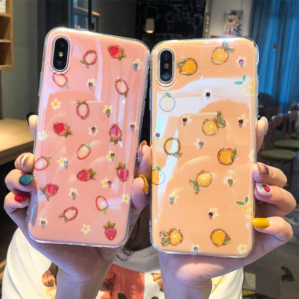 Bling Strawberry Phone Case for iphone 6/6s/6plus/7/7plus/8/8P/X/XS/XR/XS Max PN2604