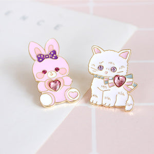 Cute Rabbit and Cat Brooches Pin PN11318