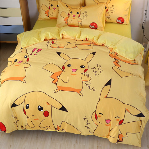 Lovely Pikachu Bed sheet,Quiltcover,Pillowcover PN1782