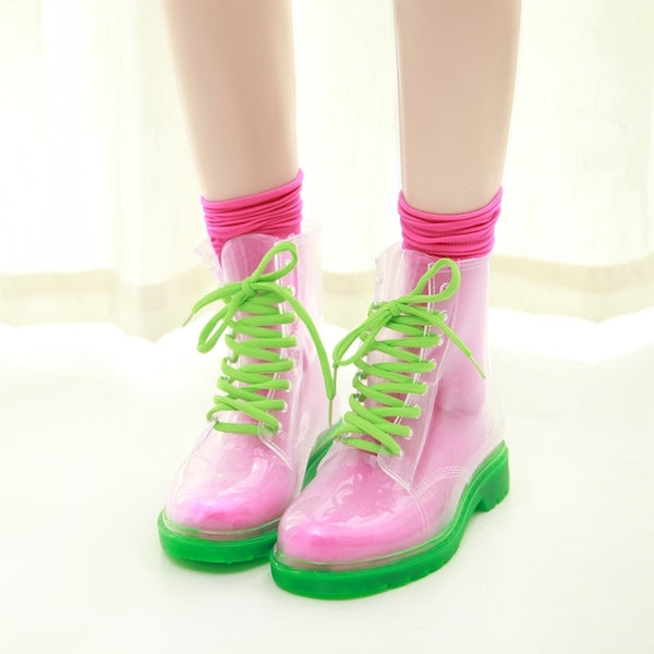 Colorful Strap Rubber Rain Boots PN1861