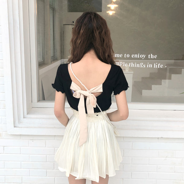 Open Back  Butterfly T-shirt and Skirt PN1300