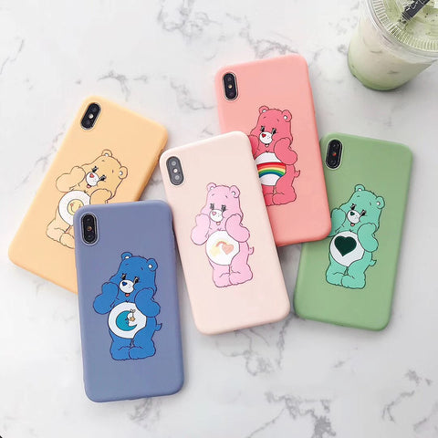 Colorful Care Bear Phone Case for iphone 6/6s/6plus/7/7plus/8/8P/X/XS/XR/XS Max PN1694