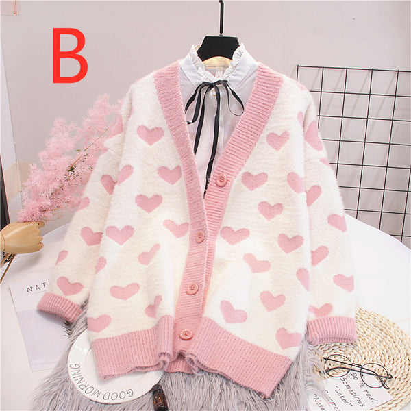Pink Hearts Sweater Knitted Coat PN1649