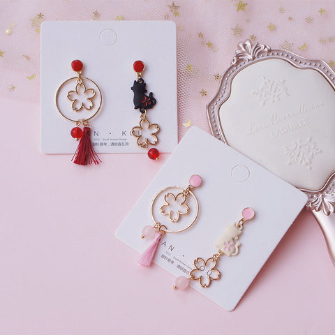 Cute Cat Sakura Earrings/Clips PN3677