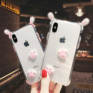 Cute Paws And Ears Phone Case for iphone 6/6s/6plus/7/7plus/8/8P/X/XS/XR/XS Max PN1155
