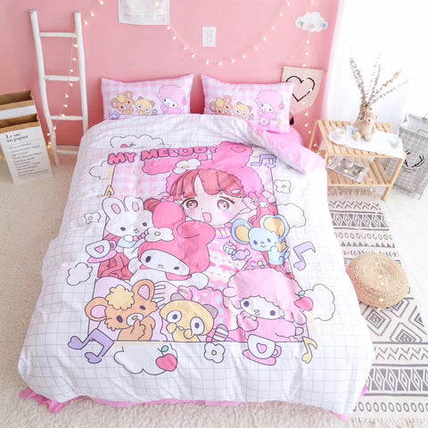 Cute Girl And Melody Bed sheet,Quiltcover,Pillowcover PN1884