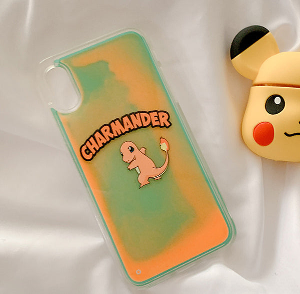Cartoon Pikachu and Squirtle Quicksand Phone Case for iphone 6/6s/6plus/7/7plus/8/8P/X/XS/XR/XS Max PN1664