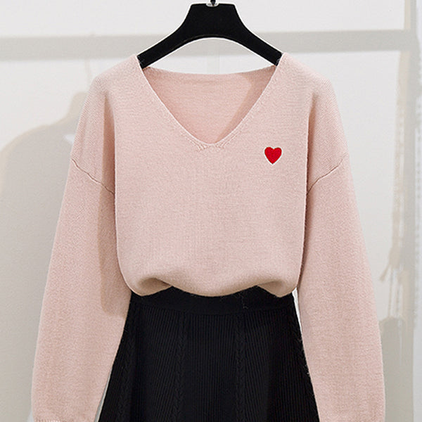 Fashion Heart Sweater And Skirt Set PN2064