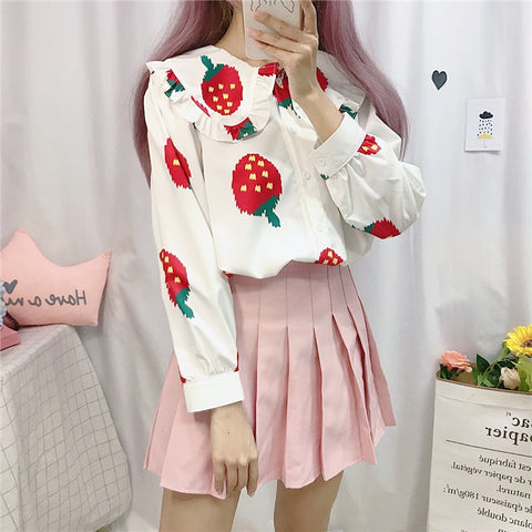 Kawaii Strawberry Long Sleeve Tshirt PN1784