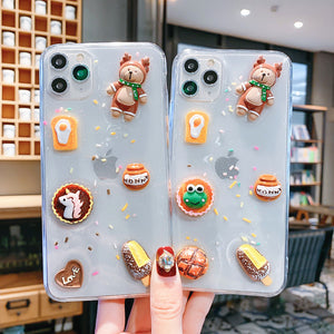 Kawaii Bear Phone Case for iphone 6/6s/6plus/7/7plus/8/8P/X/XS/XR/XS Max/11/11pro/11pro max PN2392