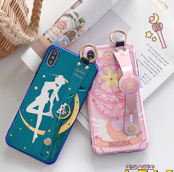 Sailormoon and Sakura Wrist Strap Bracket Phone Case for iphone 6/6s/6plus/7/7plus/8/8P/X/XS/XR/XS Max PN1494