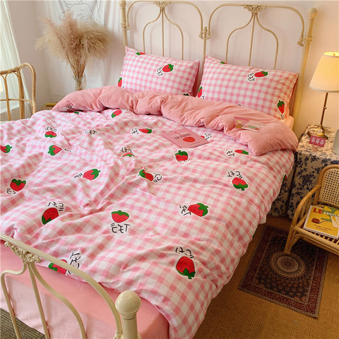 Kawaii Strawberry Bed sheet,Quiltcover,Pillowcover PN2129