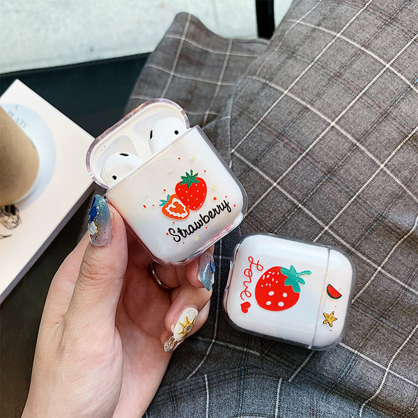 Transparent Strawberry Airpods Case For Iphone PN1251
