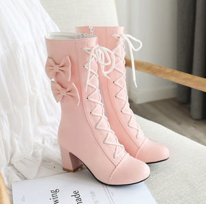 Fashion Bowtie High-heeled Martin Boots PN3171