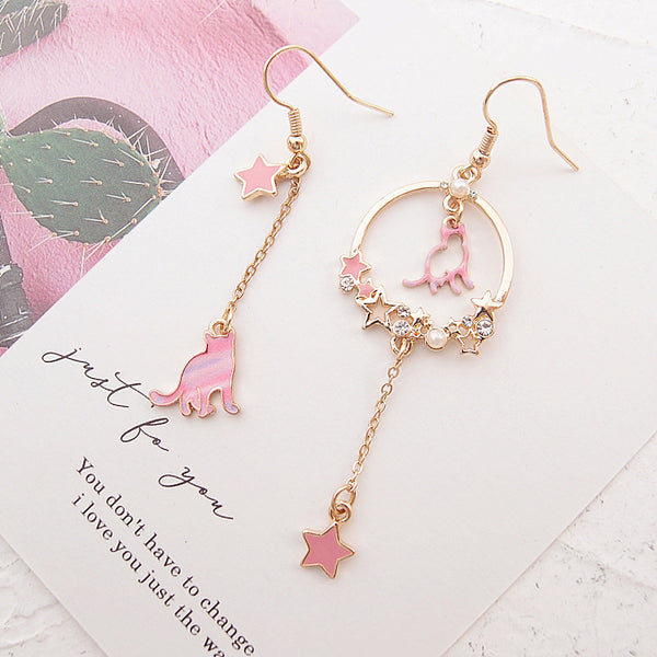 Cute Cat Star Earrings/Clips PN1643