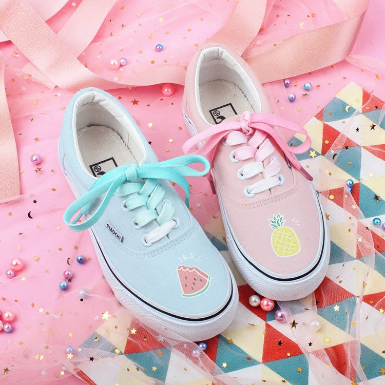 Kawaii  Watermelon and Pineapple Canvas Shoes PN1335