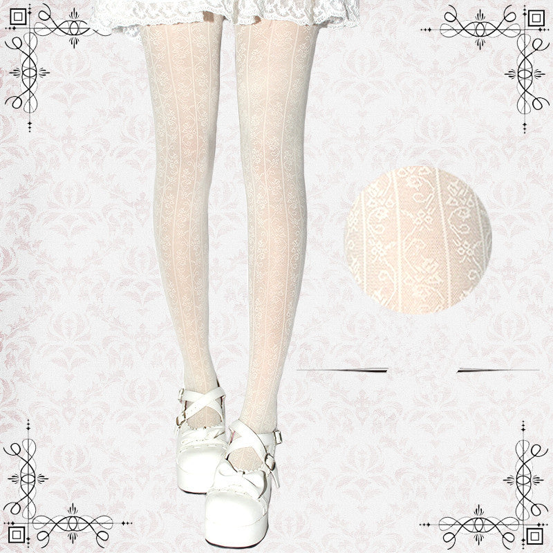 Lolita Hollowed-out Flower Pattern Socks PN0373