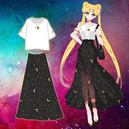 Sailormoon Luna T-shirt And Chiffon Skirt PN0242