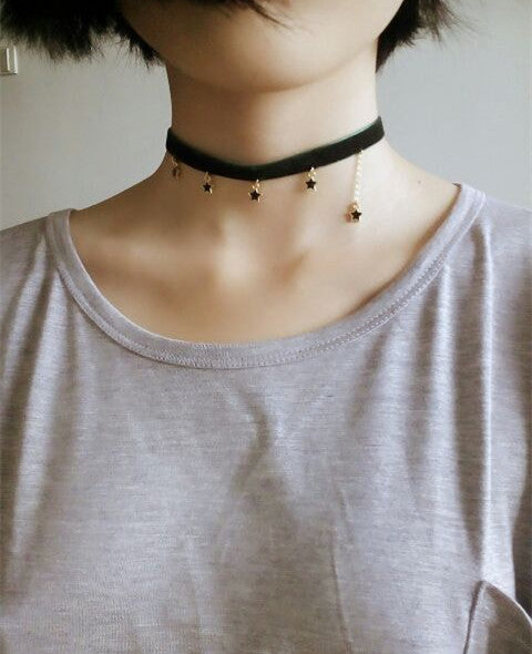 Vintage Harajuku Heart and Star Choker PN0392