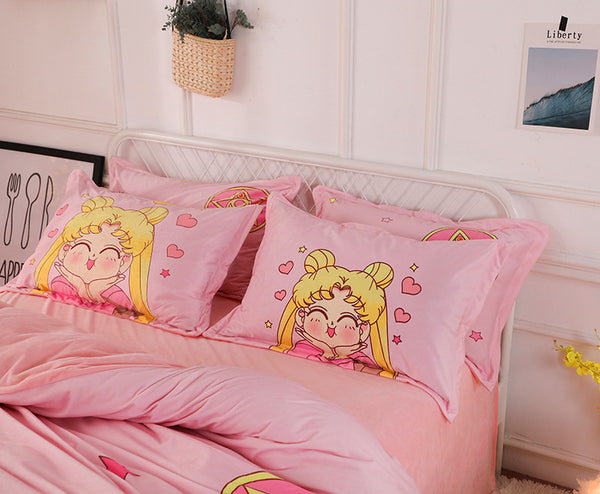 Kawaii Sailormoon Usagi Bed sheet,Quiltcover,Pillowcover PN0001