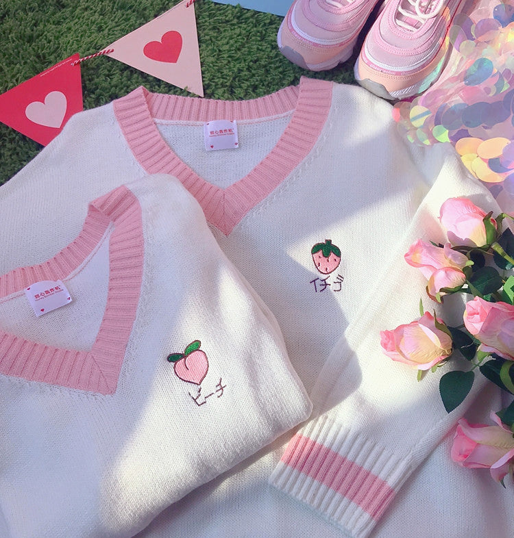 Sweet Strawberry and Peach V-neck Sweater PN1901