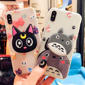 Sailormoon And Totoro Phone Case for iphone 6/6s/6plus/7/7plus/8/8plus/X/XS/XR/XS Max PN0736